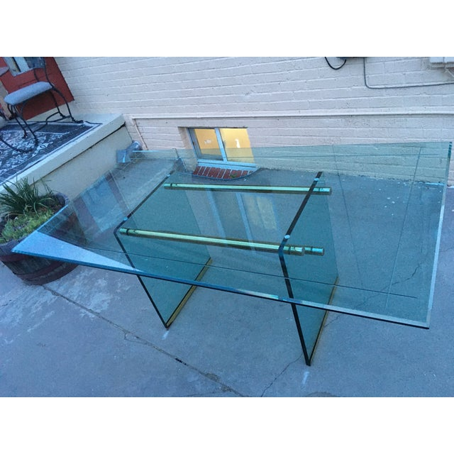 Glass and Brass Mid-Century Modern Dining Table by Pace For Sale - Image 9 of 13