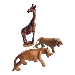 Vintage African Wood Carved Animals: Giraffe Leopard Lion - Set of 3 For Sale