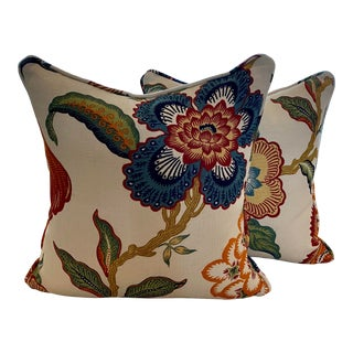 Celerie Kemble for Schumacher Hothouse Flowers Pillow Covers in Spark - a Pair For Sale