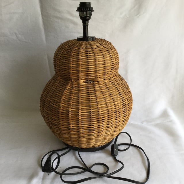Large Round Wicker Lamp - Image 2 of 7