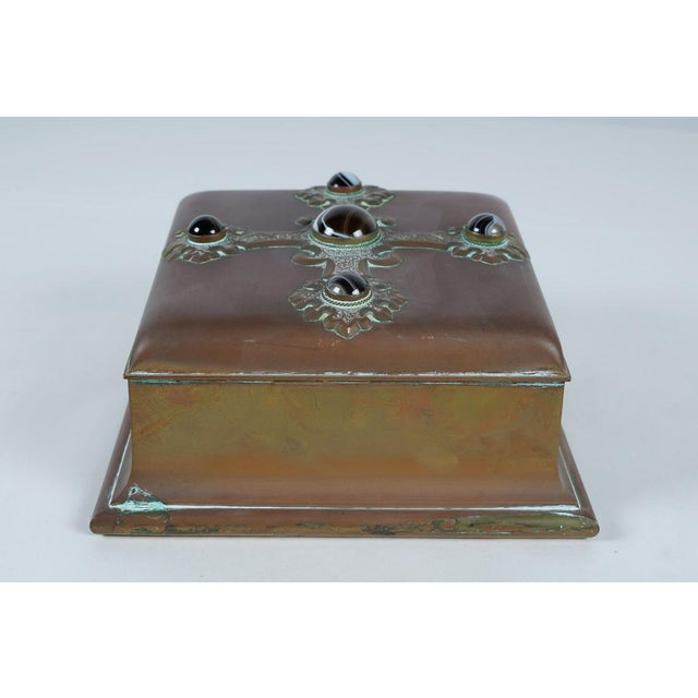 Rare Antique Banded Agate & Brass Renaissance Style Box For Sale - Image 4 of 6