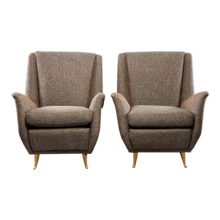 Mid-Century Italian Tweed Armchairs With Brass Legs - a Pair For Sale