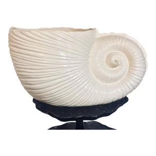 1970s Vintage Massive Nautilus Shell Ceramic Planter For Sale