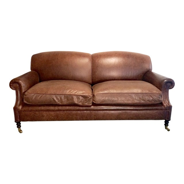 """Modern George Smith 70"""" Chocolate Brown Leather Three Seater Sofa For Sale"""