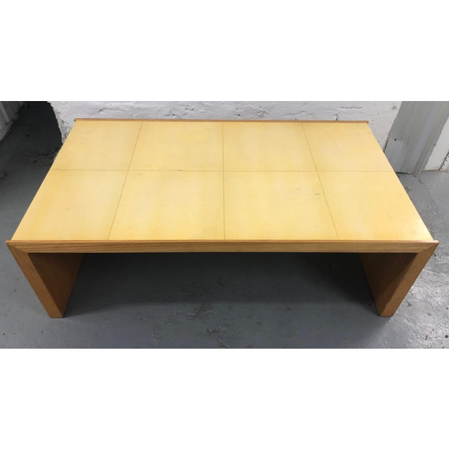 "Art Deco inspired ""Plateau"" coffee table made by Roman Thomas New York in quarter sawn oak inset with parchment top."