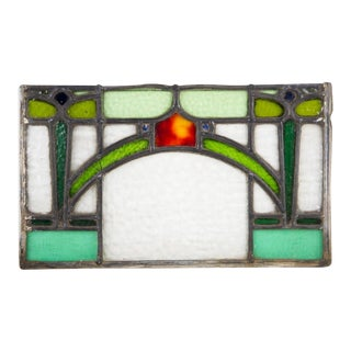 Arts and Crafts Style Rectangular Stained Glass Window For Sale