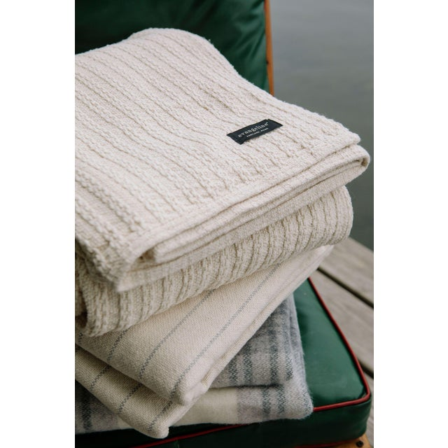 Cableknit Blanket in White, King For Sale - Image 9 of 10