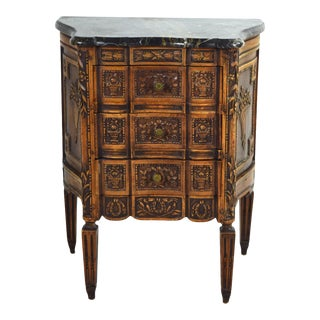 Marble Top Heavily Carved French Style End Table Nightstand Cabinet Chest For Sale