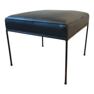 Mid Century Modern Paul McCobb Planner Black Leather Iron Stool For Sale