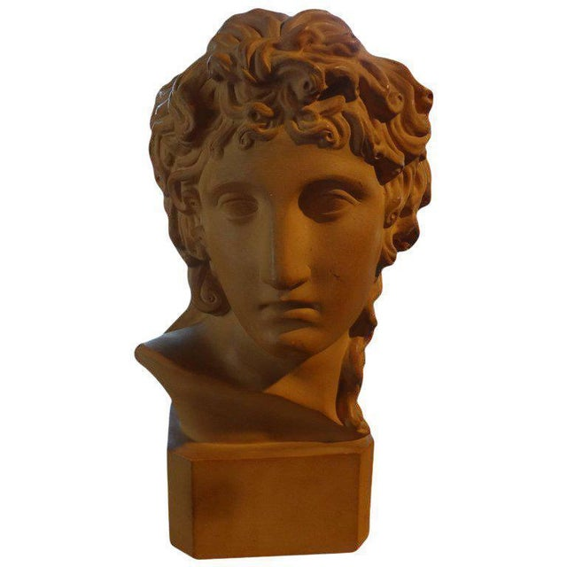Terra Cotta 1920's Antique French Classical Inspired Terra Cotta Bust For Sale - Image 8 of 8