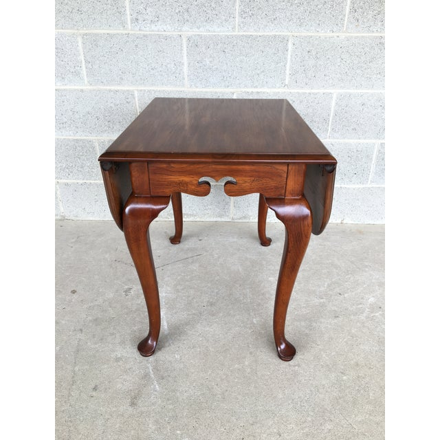 Late 20th Century Drexel Heritage Coventry Manor Mahogany Drop Leaf Side Table For Sale - Image 5 of 11