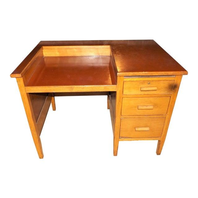 1960s Rustic Oak Writing Desk For Sale