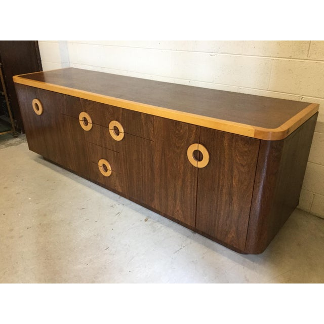 Contemporary Willy Rizzo Style Wood Credenza For Sale - Image 3 of 12