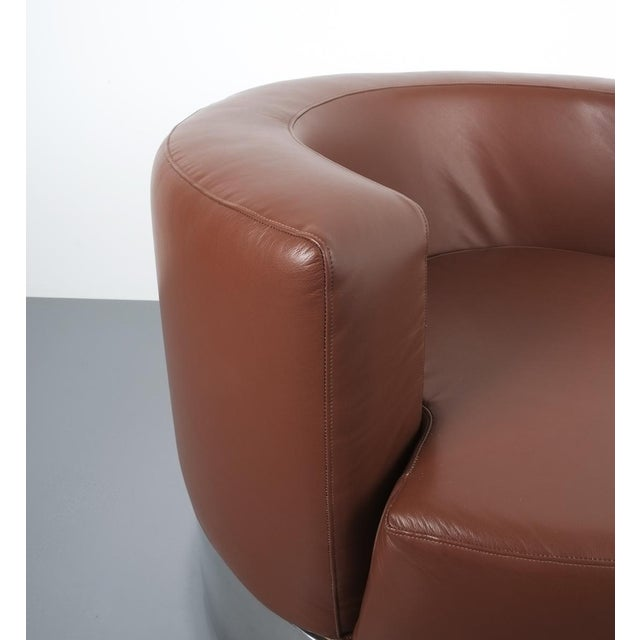 Franco Fraschini Brown Leather Chair for Driade, Italy, 1965 For Sale - Image 9 of 11