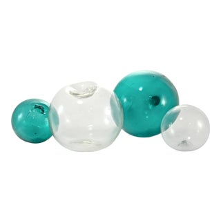 Teal Glass Fishing Floats - Set of 4