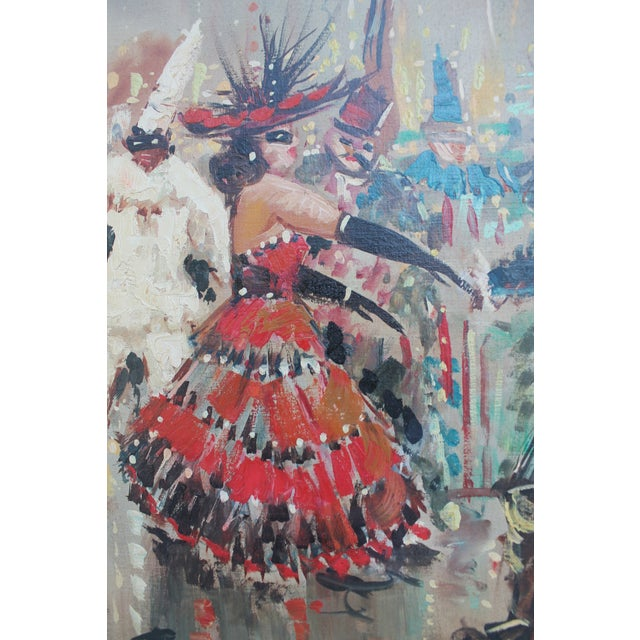 Paint Famous Historical Carnival Of Masks Venice Italy Oil On Canvas Painting By Ficall For Sale - Image 7 of 11