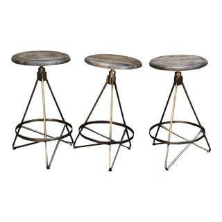 Arteriors Wyndham Swivel Counter Stools— Set of 3 For Sale