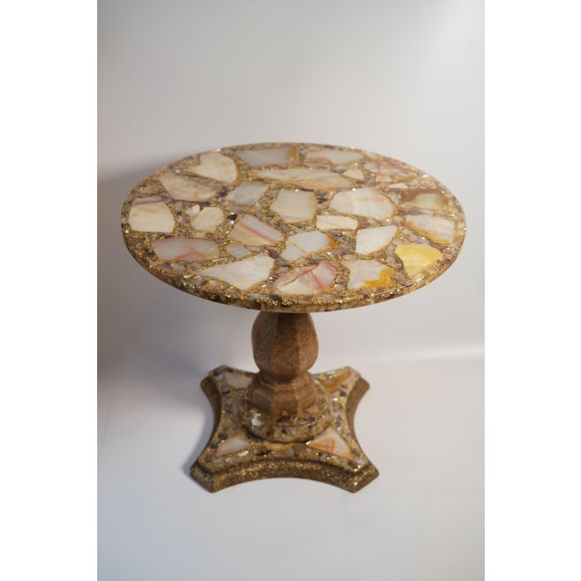 Arturo Pani Onyx Abalone Shell Gold Glitter Side Table For Sale - Image 10 of 10
