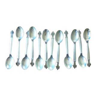 Mid 20th Century Georg Jensen Acanthus Sterling Silver Demitasse Spoon Teaspoons - Set of 12 For Sale