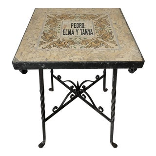 Mediterranean Tile Top Wrought Iron Side Table