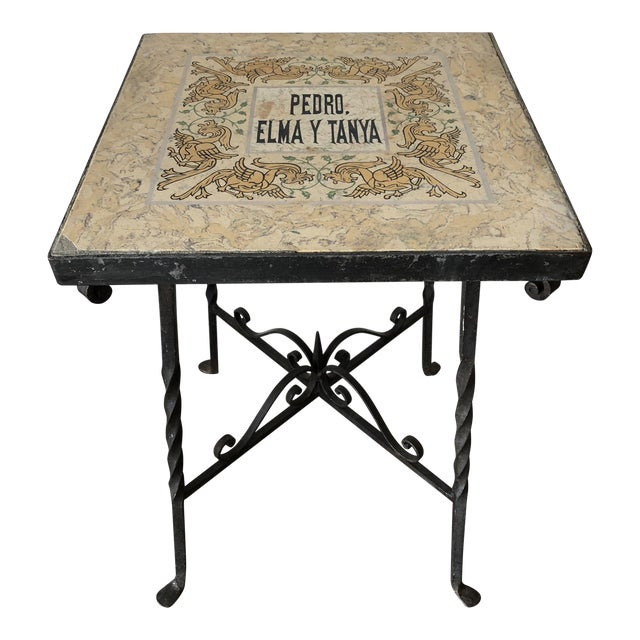 Mediterranean Tile Top Wrought Iron Side Table For Sale