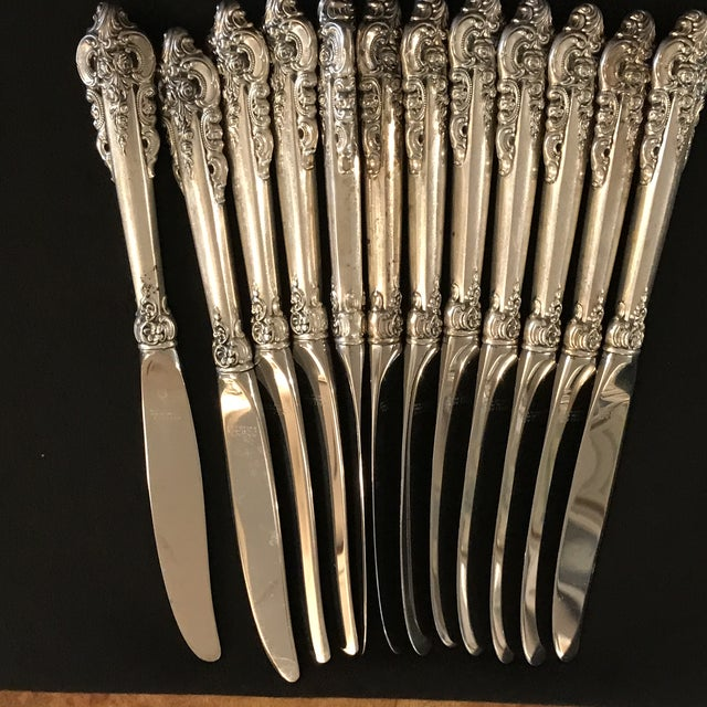 Wallace Sterling Silver Grand Baroque 93 Pc Flatware For Sale - Image 6 of 11