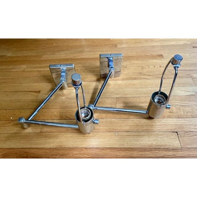 Mid-Century Modern Hinson Polished Nickel Swing Arm Lamps - a Pair For Sale - Image 11 of 12