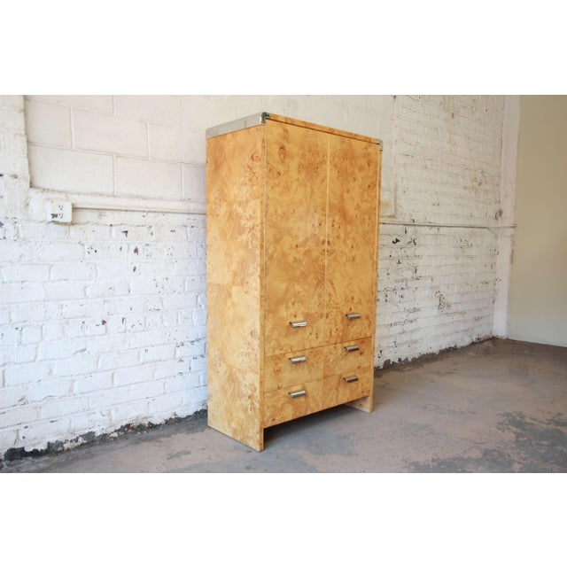 Leon Rosen for Pace Burled Olive Wood and Chrome Wardrobe Dresser - Image 2 of 13