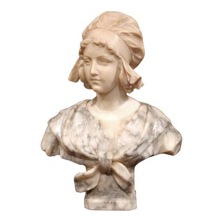 19th Century French Carved Marble Bust of Young Beauty Girl