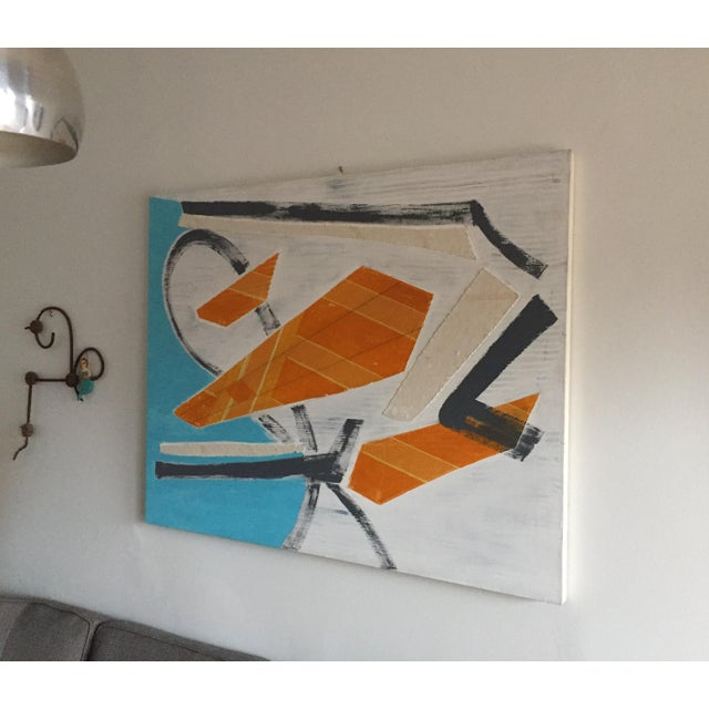 Mixed-Media Large Original Mixed Media Modern Art on Canvas For Sale - Image 7 of 8
