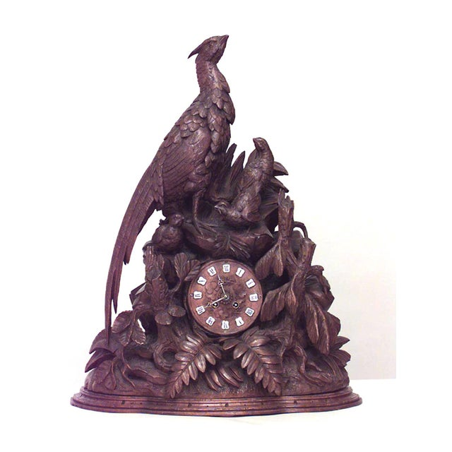 19th Century Continental Rustic Black Forest Walnut Avian Themed Mantel Clock For Sale In New York - Image 6 of 6