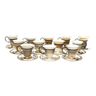 Demitasse Cups With Webster Sterling Silver Cup Holders and Saucers - Set of 13