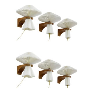 Le Klint Exceptional Set of 6 Oak Sconces With Pleated Shade For Sale