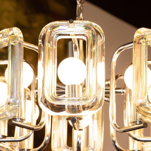 1970s Mid-Century Modern Rectilinear Chrome and Iridescent Glass Eight-Arm Chandelier For Sale - Image 5 of 8