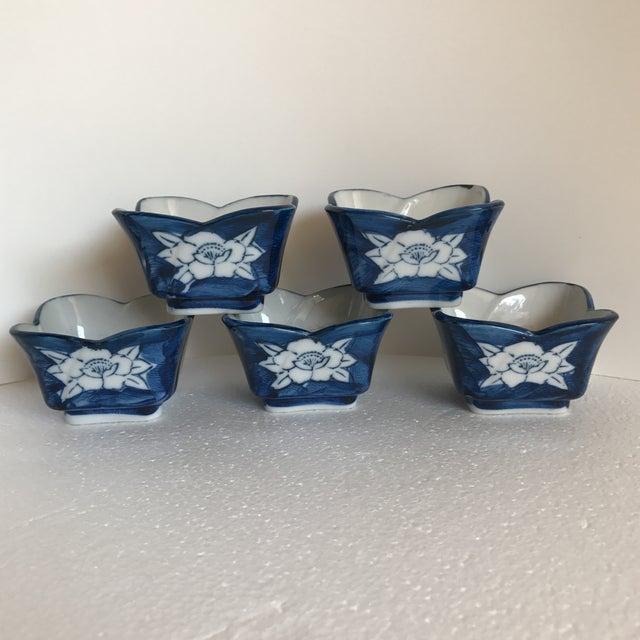 Vintage Lotus Flower Ceramic Sauce Dishes - Set of 5 - Image 2 of 7