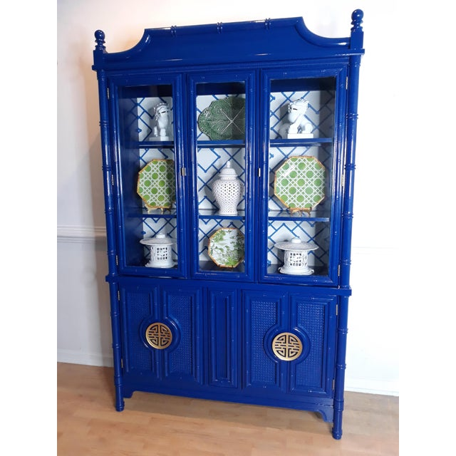 1960s Faux Bamboo Navy Blue Lacquered China Cabinet For Sale - Image 5 of 13