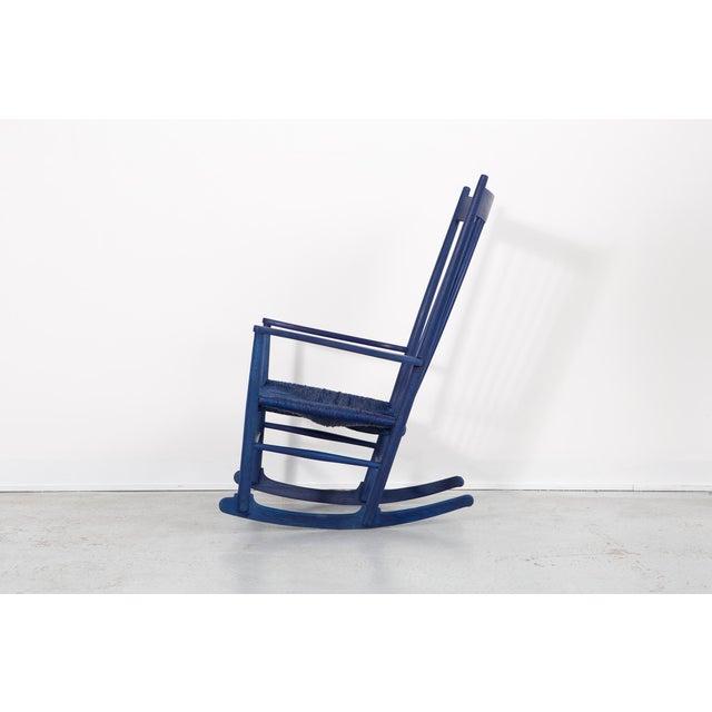 Mid-Century Modern Hans Wegner Royal Blue Rocker For Sale - Image 3 of 12