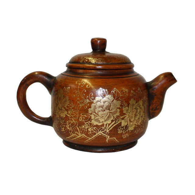 Arts & Crafts Chinese Zisha Clay Brown Golden Scenery Teapot Display For Sale - Image 3 of 7