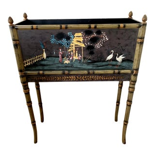 Chelsea House Chinoiserie Hand Painted Faux Bamboo Magazine Holder Planter For Sale
