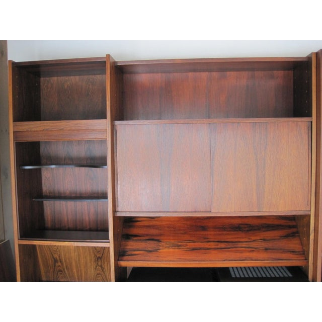 Danish Modern Rosewood Shelving Unit With Bar - Image 9 of 9