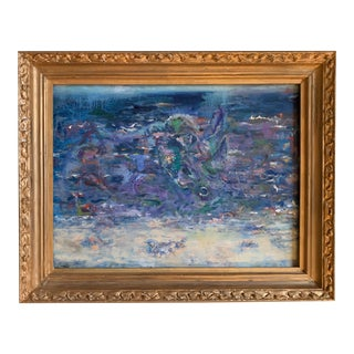 Contemporary Abstract Beach Scene Oil Painting, Framed For Sale