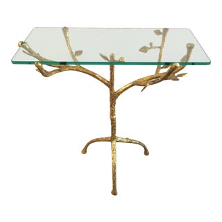 "Gilt Iron Giacometti Style ""Tree"" Side Table For Sale"