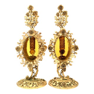 20th Century French Pair Of Gilt Brass & Amber Glass Perfume Decanter's For Sale
