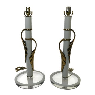 Clearlite by Bauer Lucite & Brass Lamps - A Pair
