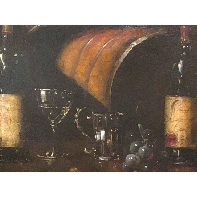 Traditional Bartolome Luzanquis Oil on Canvas Still Life of Wine Bottles With Glasses For Sale - Image 3 of 8