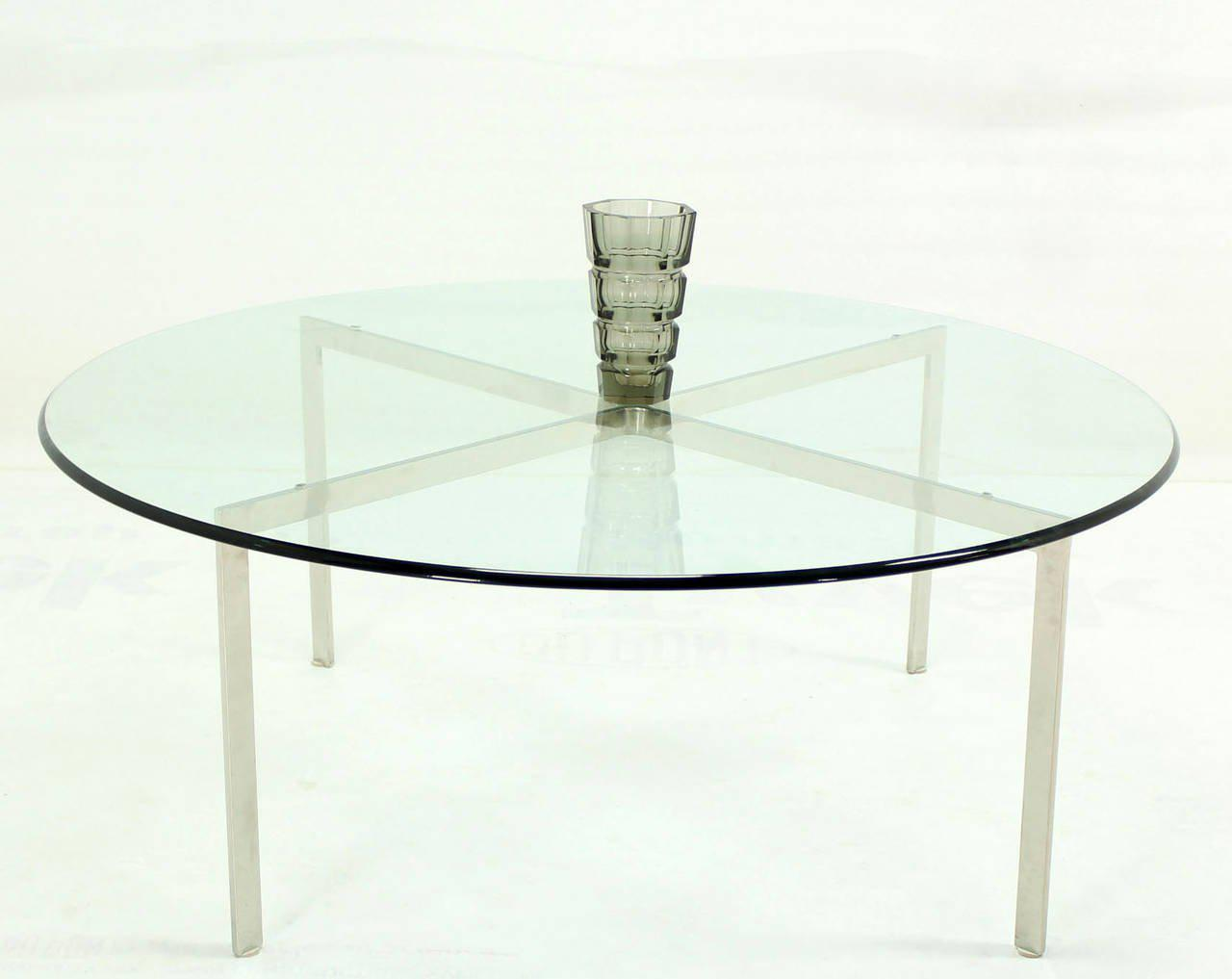 exquisite mid-century modern chrome x base thick round glass top