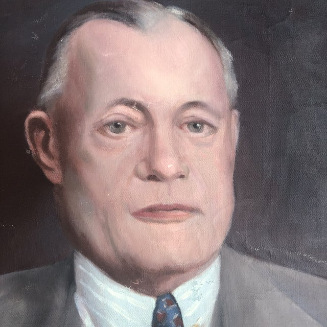 Beautiful vintage portrait of businessman with suit and pipe on unstretched canvas ready for a fabulous frame.