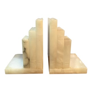 1980s Modern Alabaster Bookends - A Pair For Sale