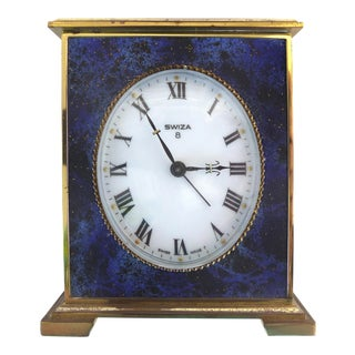 Swiza 8 Swiss Made Lapis Lazuli & Brass Winding Carriage Clock For Sale