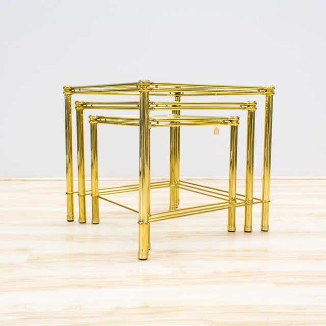Italian Brass & Glass Nesting Tables - Set of 3 - Image 6 of 11